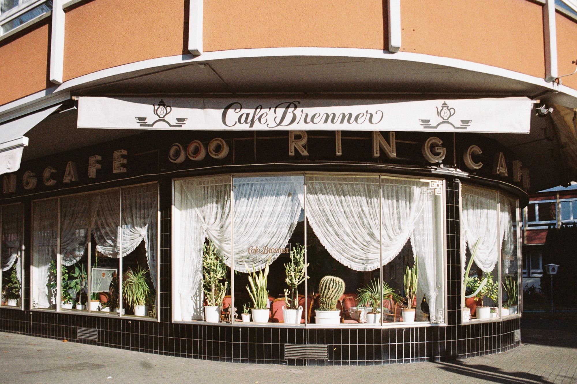 Altmodisches Café-Schaufenster voller Kakteen und mit Raffgardinen. Die Fassade ist schwarz gekachelt.