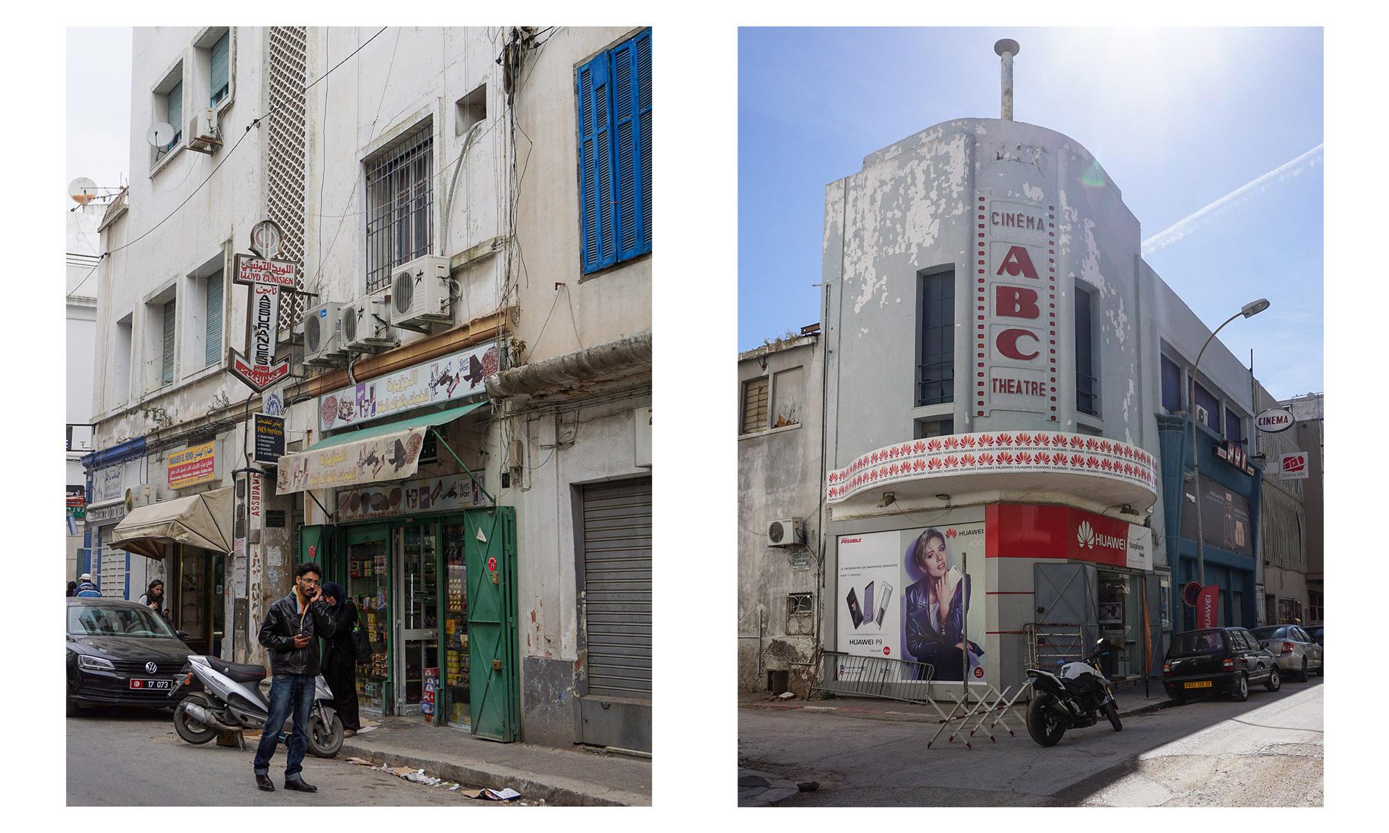Zwei etwas ungepflegte ältere Gebäude in Tunis, ein Geschäft und ein Kino