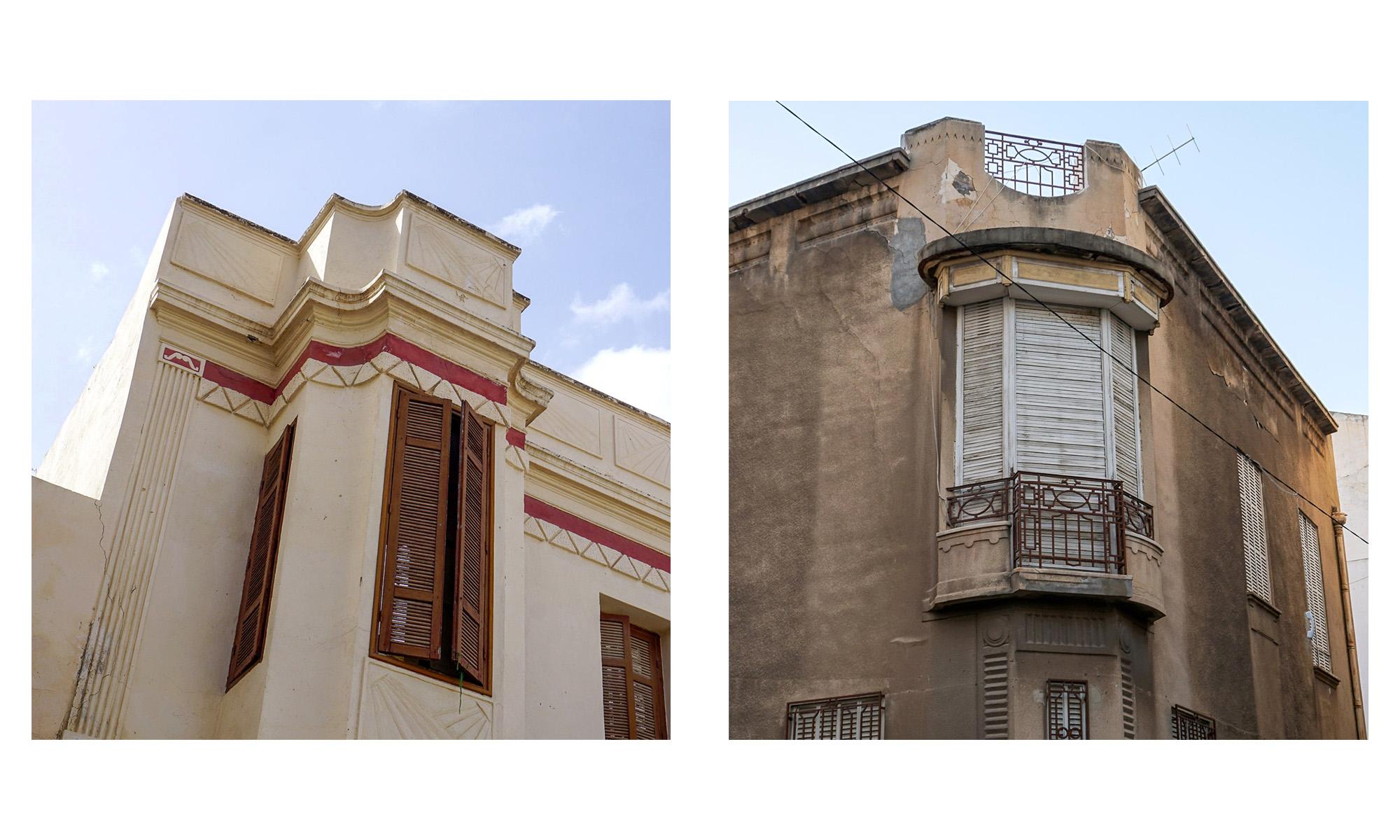 Zwei Fassadendetails aus den 30er-Jahren an heruntergekommenen Gebäuden