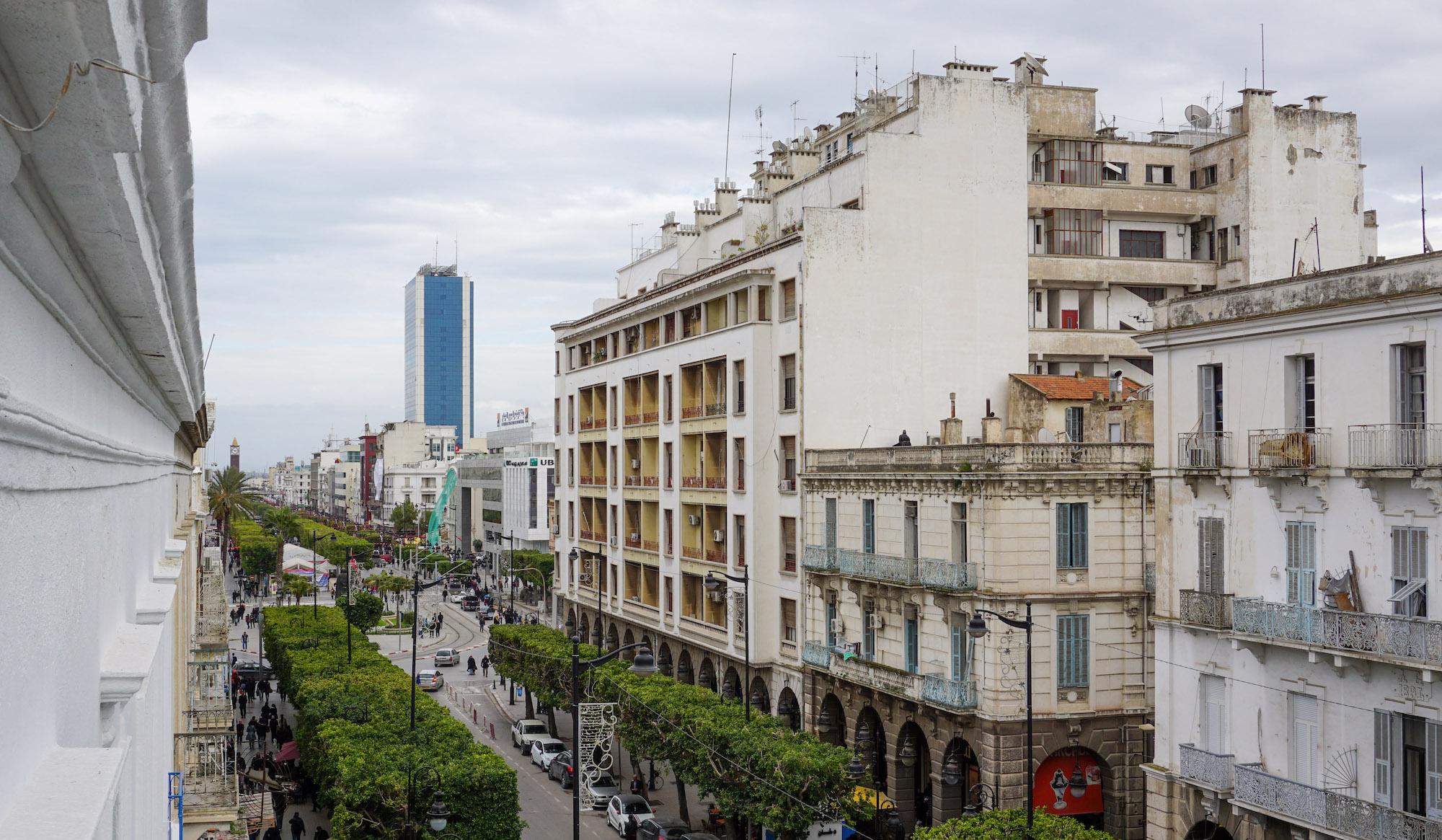 Blick aus dem Fenster eine begrünte Straße mit großen Gebäuden entlang.