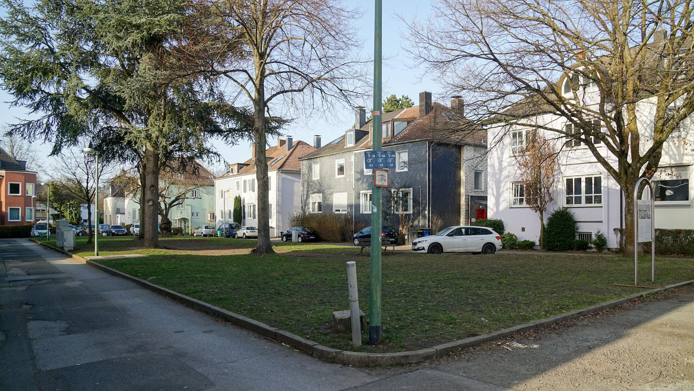 Grünfläche mit alten Bäumen, im Hintergrund Wohnhäuser und geparkte Autos