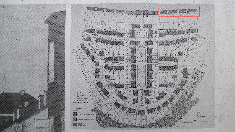 Plan der Siedlung Eyhof. Gebäude, die abgerissen werden sollen, sind markiert.