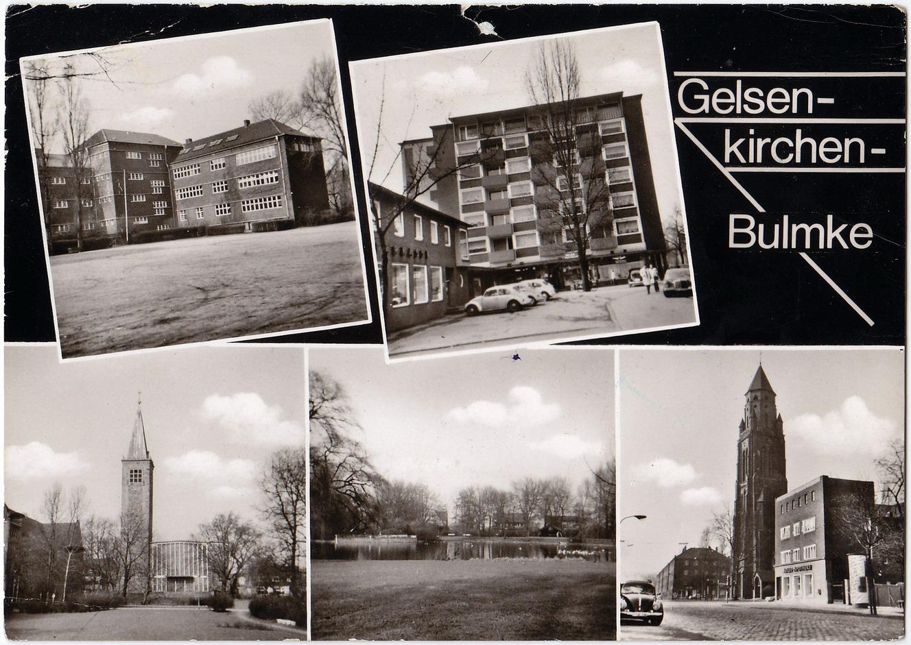 """Schwarz-weiß-Mehrbildpostkarte mit Aufschrift """"Gelsenkirchen-Bulmke"""""""